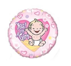 Yes! I'm A Girl Round Mylar Balloon