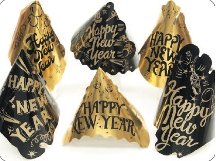 Gold & Black Foil Happy New Year Hat