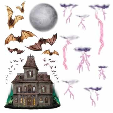 Haunted House and Night Sky Props