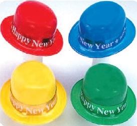 Plastic Derby Hat w/ Happy New Year Band