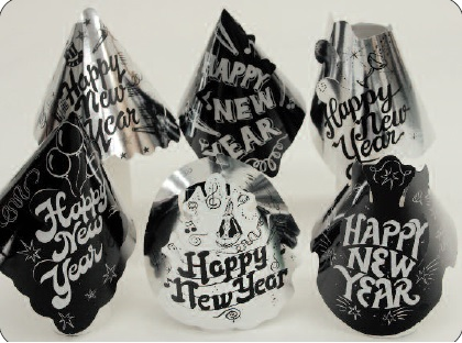 Silver & Black Foil Happy New Year Hat